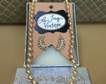 Vintage Champagne Pearl and Crystal Necklace and Earring Set