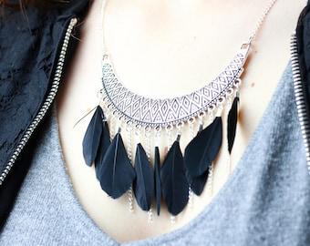 Boho bib necklace black feathers