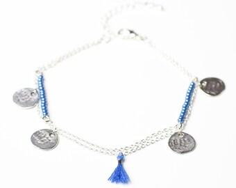 Boho blue sequins tassel ankle chain hammered