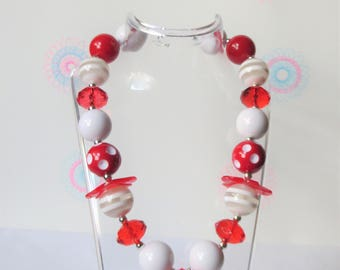 Red Diamond Chunky Bubblegum Necklace, Girl Bubblegum Necklace, Girl Chunky Necklace, Girls Jewelry, Chunky Bead Necklace