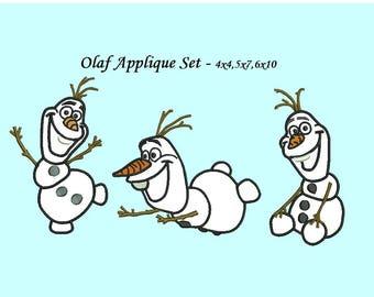 Olaf Applique Design - 3 designs each design in 4,5,6 inch size instant download