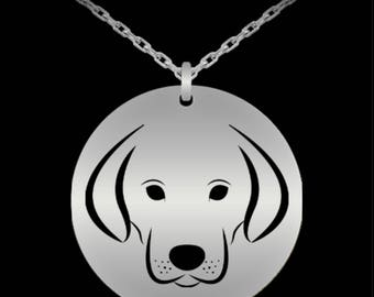 Dogs, Retriever Dog Head, America's Number 1 Top Breed, For All Canine Lovers, Stainless Steel, Round, Laser Engraved, Pendant Necklace Gift