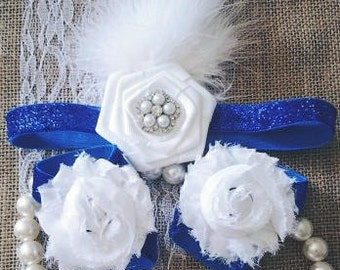 Royal Blue Sparkly Baby Barefoot Sandals and Flapper Style Headband - baby photo prop - baby barefoot sandals - sparkle feather headband