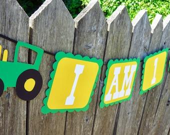 I am one banner, First Birthday, First Birthday Banner, First Birthday Farm Party, Tractor Banner, John Deere Bann