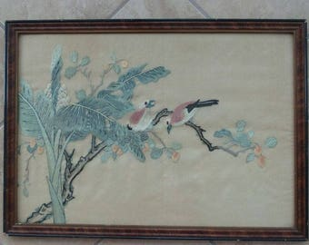 Antique chinese silk embroidery with song birds and banana tree