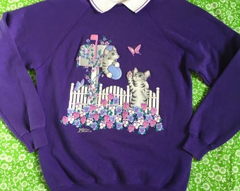 Vintage Purple Collared Sweatshirt Puffy Floral Violets Pansies Cats Kittens Butterfly Novelty Jumper 80s 90s Kitsch