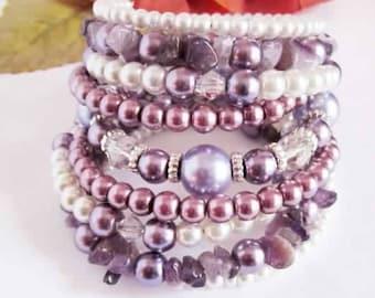 Purple Pearl Bracelet Wrap Bracelet Chunky Amethyst Bracelet, White Lavender Cuff Stacked Bracelet, Bridesmaid Bangle, Wedding, Gift For Her