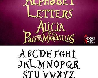 Alice In Wonderland Alphabet SVG DXF Vector Cut Files Monogram Font Cuttable files Vinyl Iron On Heat Press Transfer Silhouette Cricut JB504