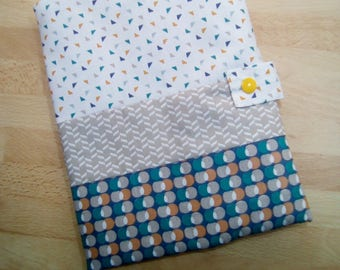 Lovely health booklet protection cover personalized, cotton and lined in fleece in shades of blue, green, beige, orange