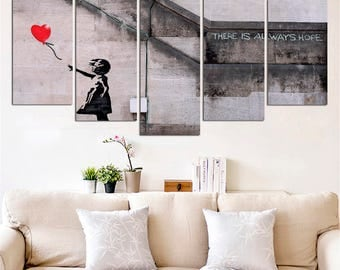 Banksy Girl With Balloon - Gallery Wrapped - Decor Poster Art Home - graffiti canvas Home Decor Office Decoration - There Is Always Hope 125