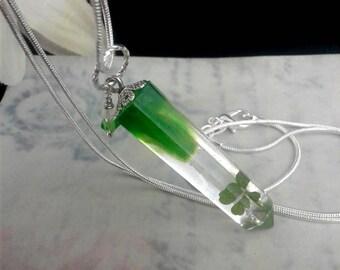 Resin Crystal, Four Leaf Clover, 925 Sterling Silver, Swarovski Crystals, Lucky Necklace