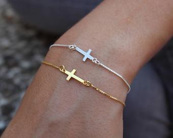 Cross Bracelet, Dainty Bracelet, Tiny Bracelet, Layered Bracelet, Chain Bracelet, Gift For Her, Silver Bracelet, Gold Bracelet