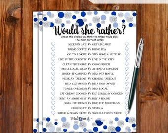 Would She Rather Bridal Shower Game - Blue Dots & Diamonds Theme Printable Bridal Shower Game - Bachelorette Party Night - Hen Party DD79-BL