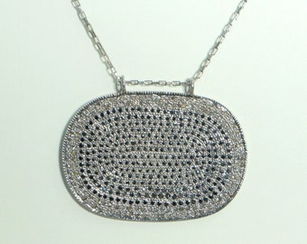 Designer 2.50cts pave diamond black spinal oval disc pendant with link chain necklace - SKU PJN211