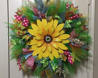 Sunflower Wreath with tons of ribbon!