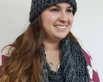 Handmade infinity scarf and beanie dark grey