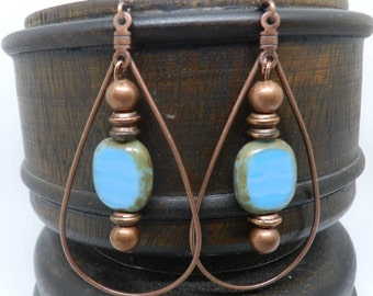 Copper and stone earrings/ boho jewelry for women/ copper hoop earrings/ hoop earrings/ turquoise earrings/ copper jewelry/ Gypsy jewelry