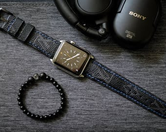 Artisan Watch Strap Handmade LV Strap Blue Stitching L1 Fits Apple watch Series 1 Series 2, Nike+ version 38mm or 42mm