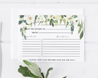 White Floral Greenery Recipe Card Template  Recipe Card Printable Template Greenery Editable Recipe Card Template Bridal Recipe Card insert