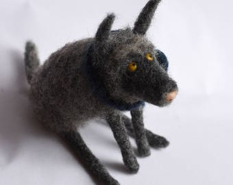 The Grey Wolf, needle felted - sample