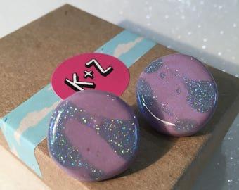 Purple & Pale Blue Glitter Resin Earrings