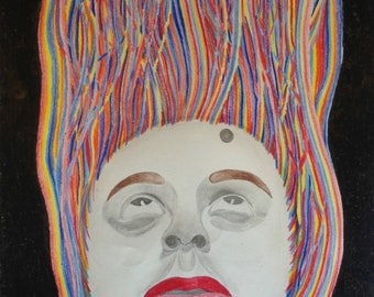 Colorful Self-Portrait Drawing, Rainbow artwork