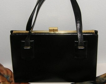 Vintage Black Purse - Classic Late 1950's - Early 1960's Black Handbag - For Her, For You