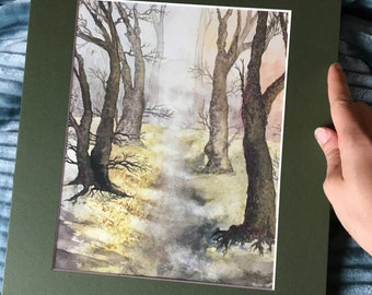Watercolor Print Wall Art, Forest Path