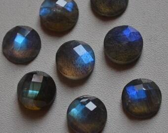 Natural Labradorite Round Rose Cut  Loose Gemstones-High Quality Blue Flashy Labradorite Round Rose Cut 10 Pieces Lot