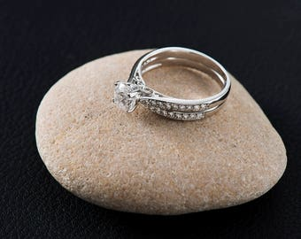 Engagement ring set minimalist ring set silver morganite ring set minimalist wedding ring set delicate ring set silver ring set