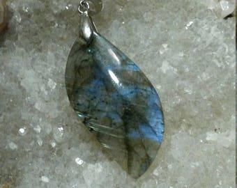 Blue LABRADORITE, 9.30 grams-leaf pendant