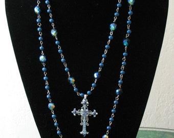 Vintage Blue Cross Double Layer Necklace