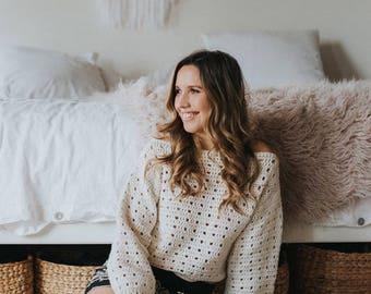 Cozy Bohemian Crochet Sweater