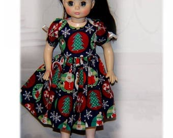 """Dress for 13"""" & 14.5"""" Dolls """"Snowflake Christmas""""   Will fit Little Darling, Mini-Maru and 14"""" Madame Alexander play dolls."""