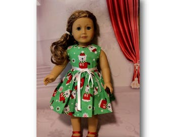 "Christmas Polar Bears - 18"" Doll Clothes. (American Girl Doll and Shoes are not included) Polar Bear Christmas Dress, handmade in the USA."