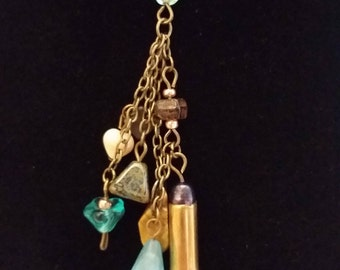 Y Necklace with .22 Casing, Blue accents