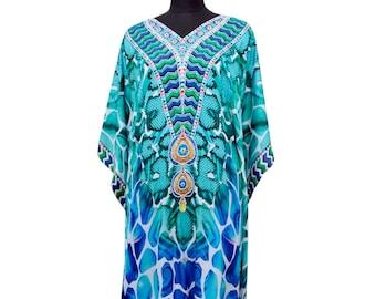 New 100% Silk caftan full length embellished beach cover up dress K36S