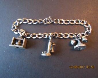 Charm Bracelet, sterling, vintage
