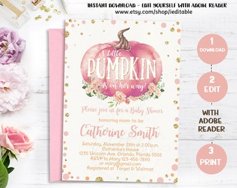 Pumpkin Baby Shower Invitations, Girl Fall Baby Shower Invitations. Watercolor Floral Pumpkin, Gold Foil, Instant dowload Editable Templates