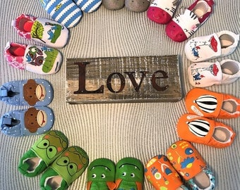 Soft baby shoes with non slip soles. Great for first walking shoes!