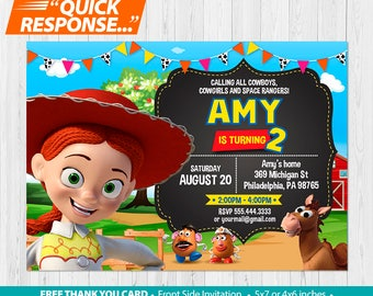 Toy Story Invitation PRINTABLE, Toy Story Birthday Invitation, Toy Story Invite Jessie Toy Story Party Invitation, Jessie Thank You Card, vC