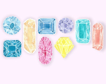 Watercolour Gem Stickers, planner, journal stickers
