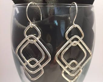 Earrings, Sterling Silver Square