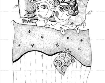 Couple under the blanket,Graphic art print, Instant Download.