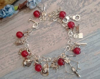 The Walking Dead Themed Charm Bracelet - TWD Jewellery, Rick Grimes, Daryl Dixon, Negan, Gift for her
