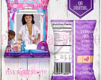 Doc Mcstuffins Favor Bags - Custom Chip Bags - Doc Mcstuffins Birthday Party Digital - Printable - Printed - Chip Bags