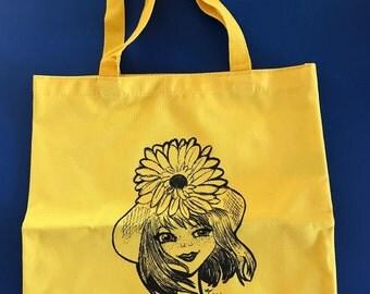 Sunflower Girl Original Artwork Tote Bag