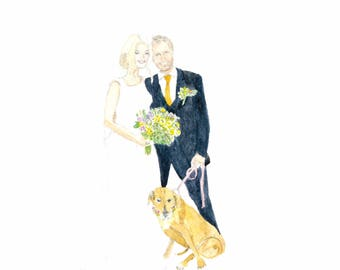 Custom made watercolour portrait of two people and a dog. This is an example.
