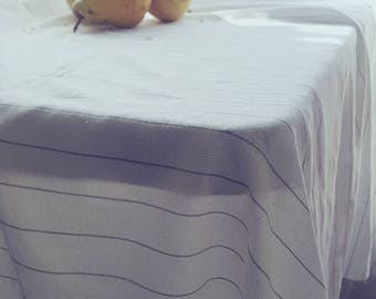 Easter Tablecloth, Tablecloth Rectangle, Linen Table Cloth, White Tablecloth, Rectangle Table Cloth, Large Tablecloth, Striped Tablecloth