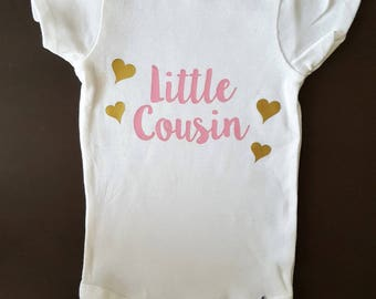 Little Cousin Onesie, Big Cousin Onesie, I'm going to be a cousin, Girl Cousin, New baby, Expecting, Pink and gold onesie, Cousin bodysuit